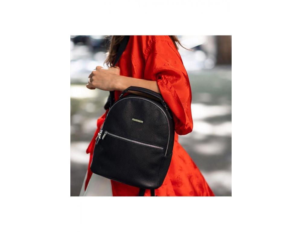 Женский кожаный мини-сумка-рюкзак Kylie BN-BAG-22-onyx черный - Фото № 10
