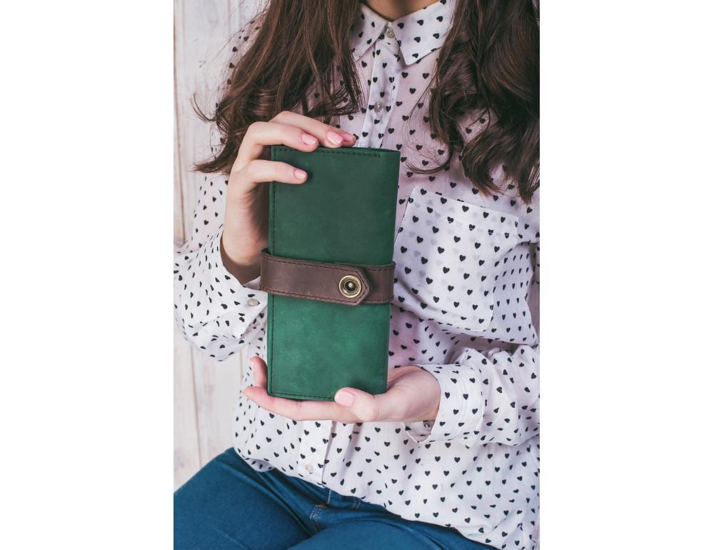 Женский зеленый кошелек из кожи Blanknote BN-PM-3-i-o