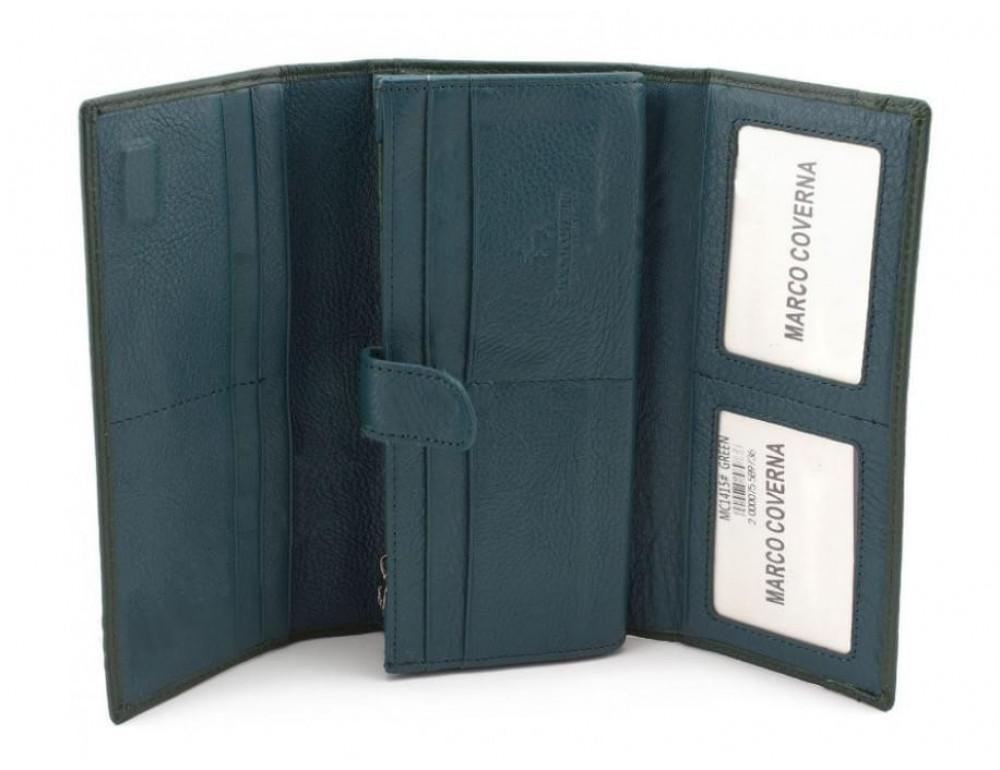 Зелёный кожаный кошелек MARCO COVERNA mc1415-7 green - Фото № 2