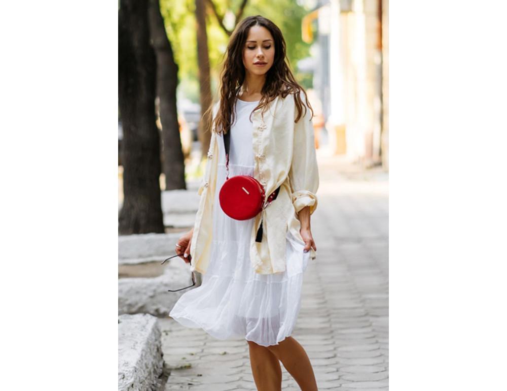 Женская круглая сумочка Tablet BN-BAG-23-rubin красная - Фото № 8