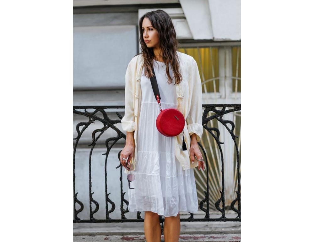 Женская круглая сумочка Tablet BN-BAG-23-rubin красная - Фото № 9