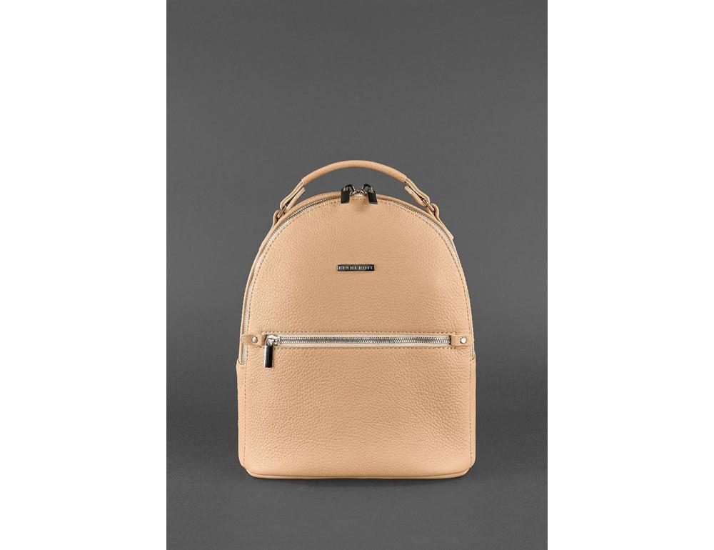 Женский кожаный мини-сумка-рюкзак Kylie BN-BAG-22-crem-brule бежевый - Фото № 2
