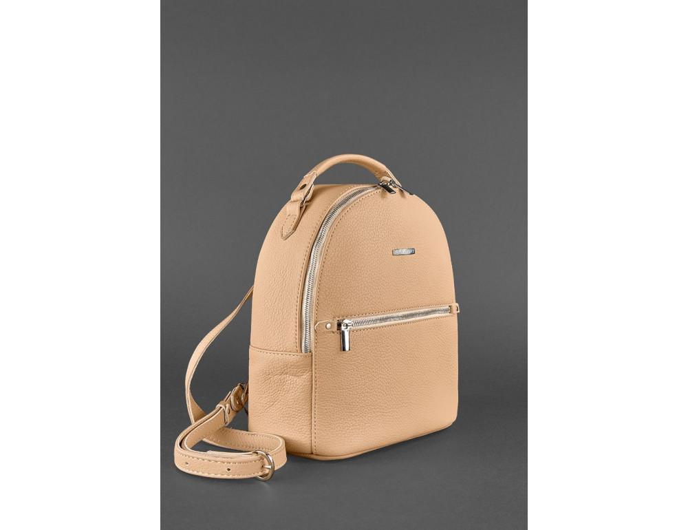 Женский кожаный мини-сумка-рюкзак Kylie BN-BAG-22-crem-brule бежевый - Фото № 3