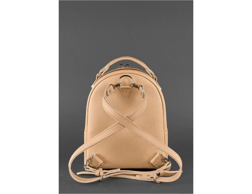 Женский кожаный мини-сумка-рюкзак Kylie BN-BAG-22-crem-brule бежевый - Фото № 4