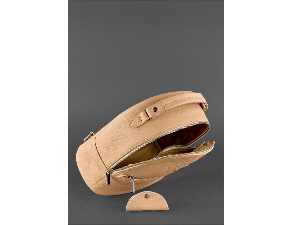 Женский кожаный мини-сумка-рюкзак Kylie BN-BAG-22-crem-brule бежевый - Фото № 5