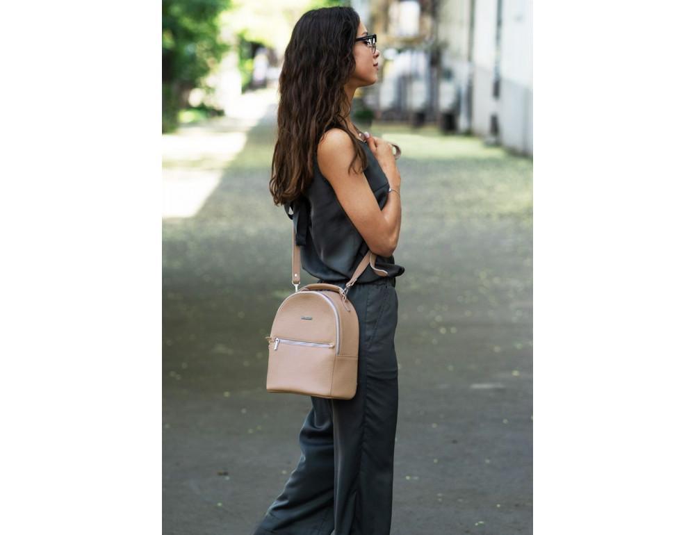 Женский кожаный мини-сумка-рюкзак Kylie BN-BAG-22-crem-brule бежевый - Фото № 6