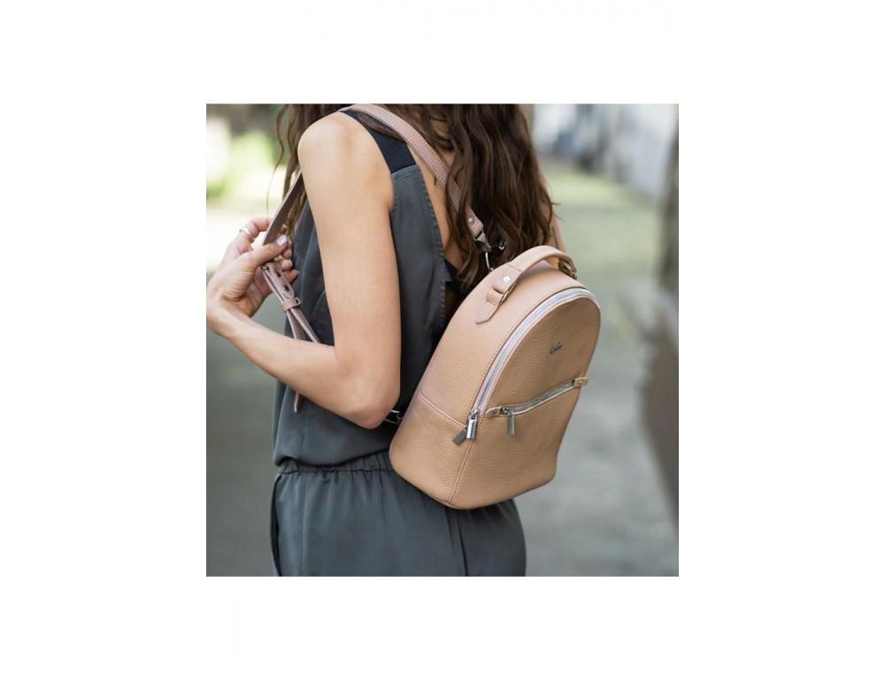 Женский кожаный мини-сумка-рюкзак Kylie BN-BAG-22-crem-brule бежевый - Фото № 7