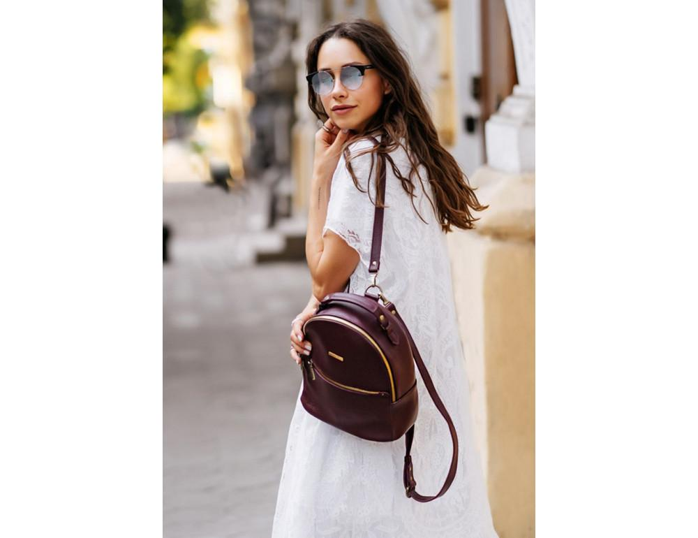 Женский кожаный мини-сумка-рюкзак Kylie BN-BAG-22-marsala Марсала - Фото № 6