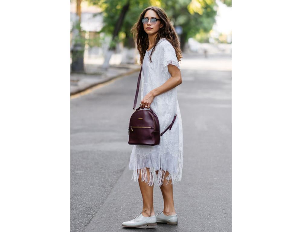 Женский кожаный мини-сумка-рюкзак Kylie BN-BAG-22-marsala Марсала - Фото № 7