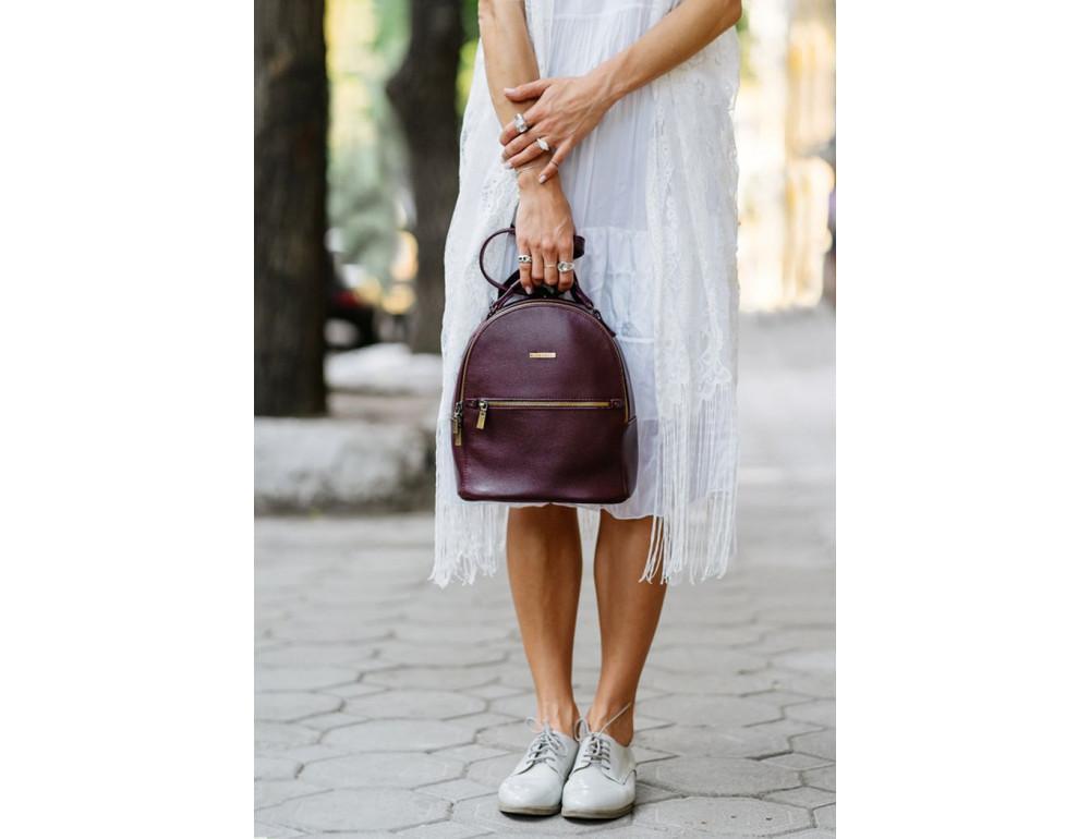 Женский кожаный мини-сумка-рюкзак Kylie BN-BAG-22-marsala Марсала - Фото № 8