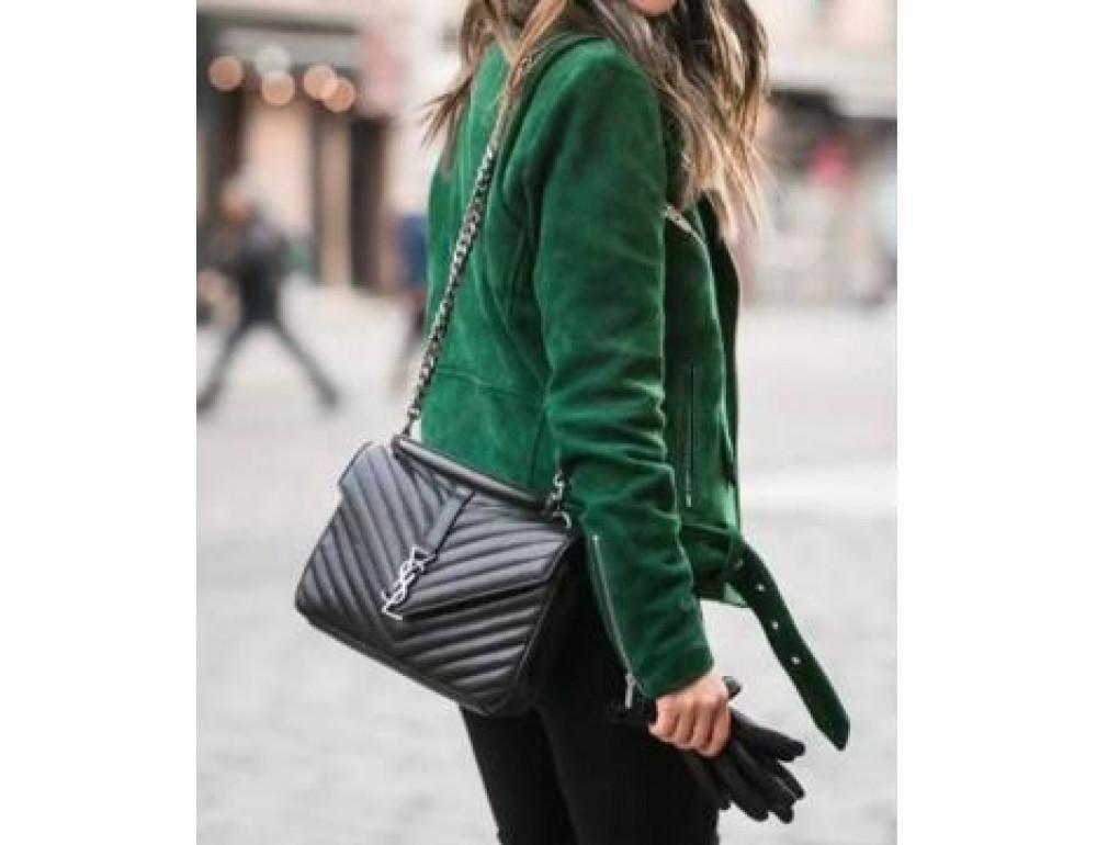 Кожаная сумка Yves Saint Laurent YSL-991210GR серая - Фото № 10