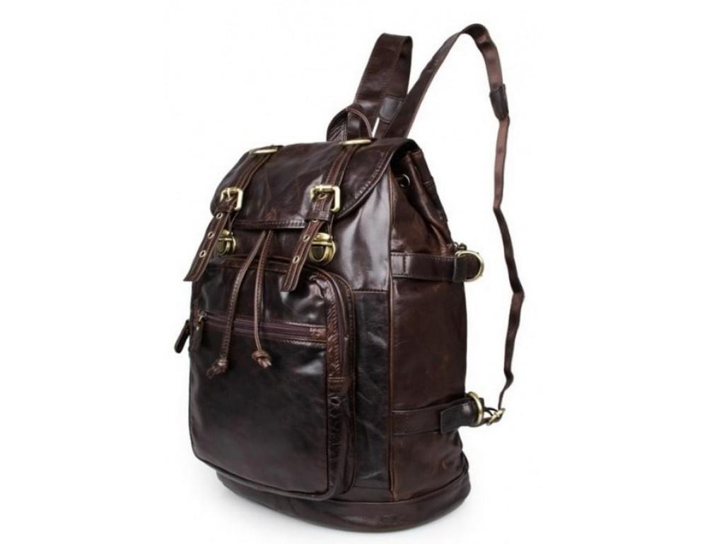 Рюкзак кожаный Tiding Bag 6085C коричневый