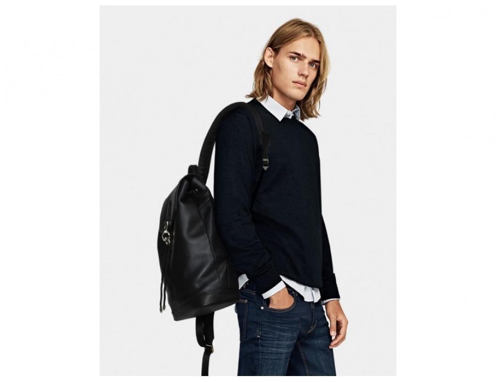 Рюкзак кожаный Tiding Bag B3-1899A чёрный - Фото № 2
