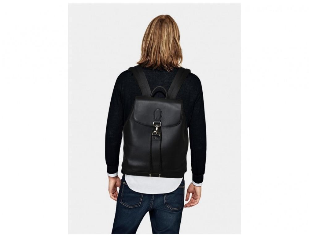 Рюкзак кожаный Tiding Bag B3-1899A чёрный - Фото № 3