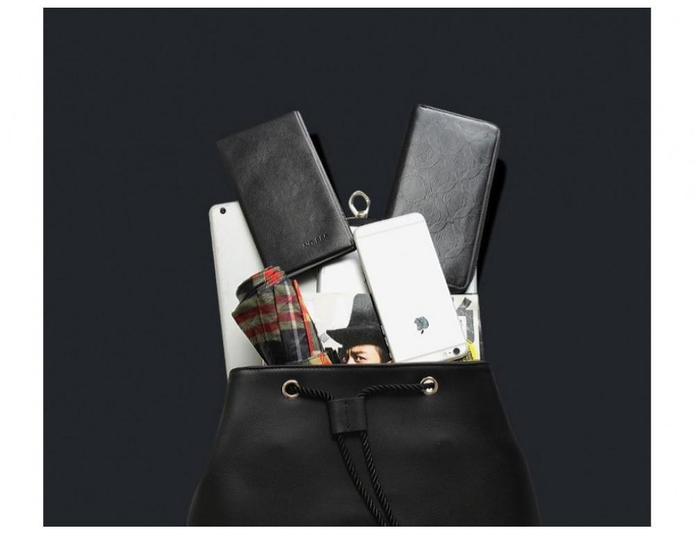 Рюкзак кожаный Tiding Bag B3-1899A чёрный - Фото № 8