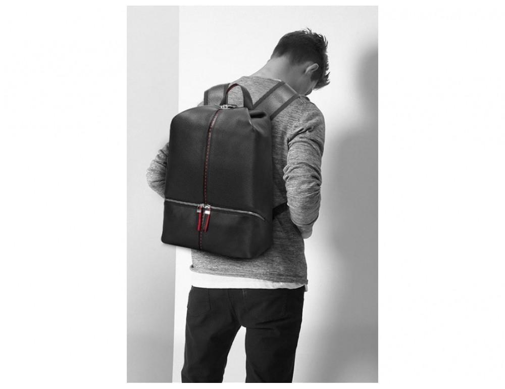Рюкзак кожаный Tiding Bag B3-2639A чёрный - Фото № 2