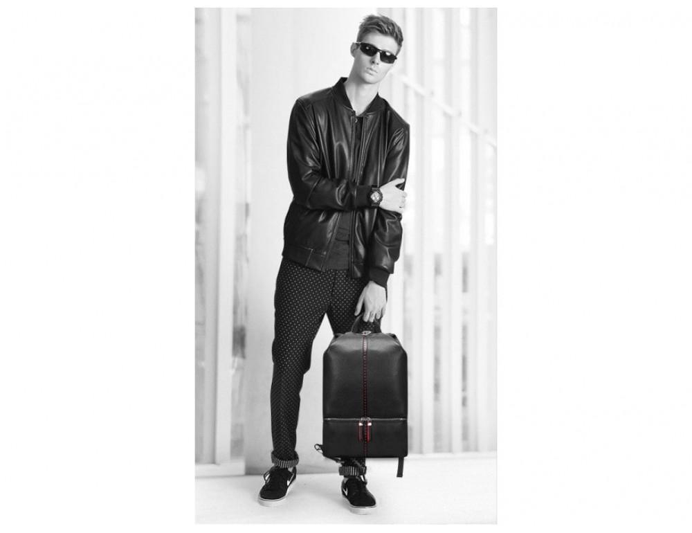 Рюкзак кожаный Tiding Bag B3-2639A чёрный - Фото № 3