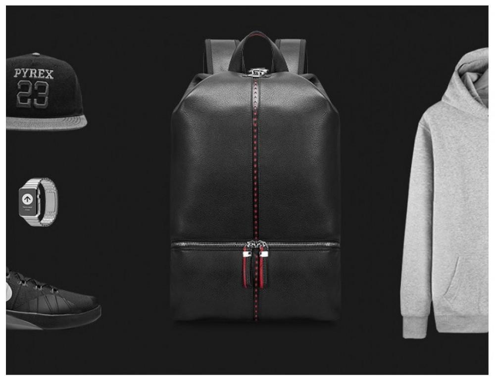 Рюкзак кожаный Tiding Bag B3-2639A чёрный - Фото № 4
