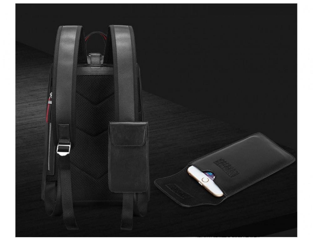 Рюкзак кожаный Tiding Bag B3-2639A чёрный - Фото № 5