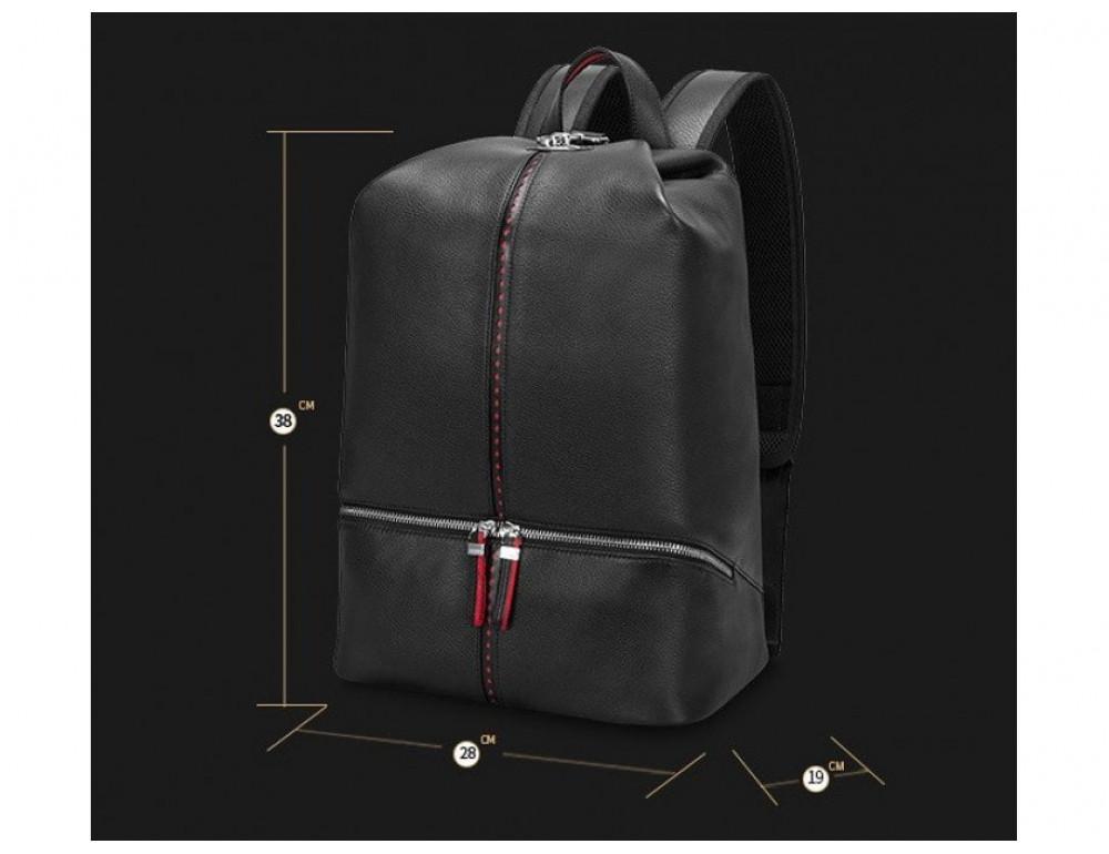 Рюкзак кожаный Tiding Bag B3-2639A чёрный - Фото № 6