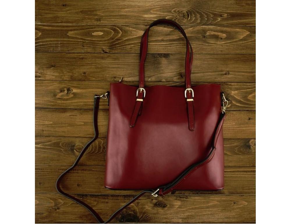Женская кожаная сумка Grays GR3-173BO бордовая - Фото № 2