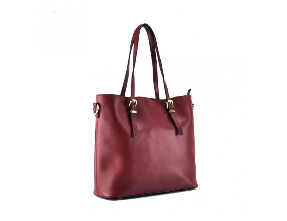 Женская кожаная сумка Grays GR3-173BO бордовая - Фото № 4