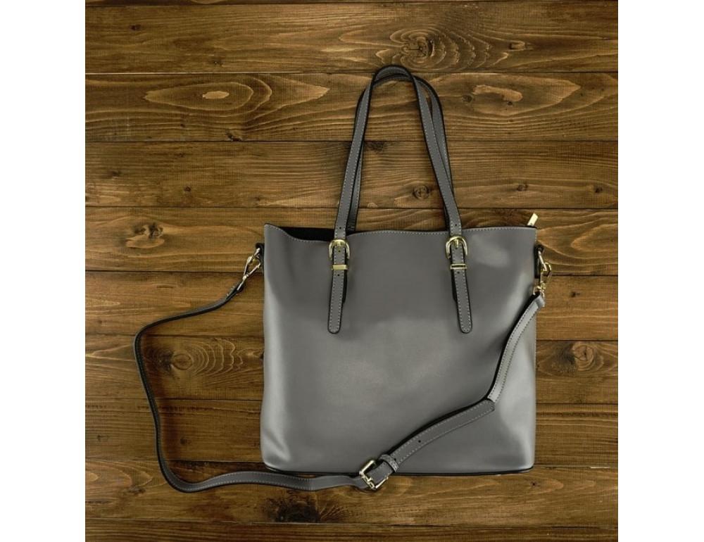 Женская кожаная сумка Grays GR3-173G серая - Фото № 2