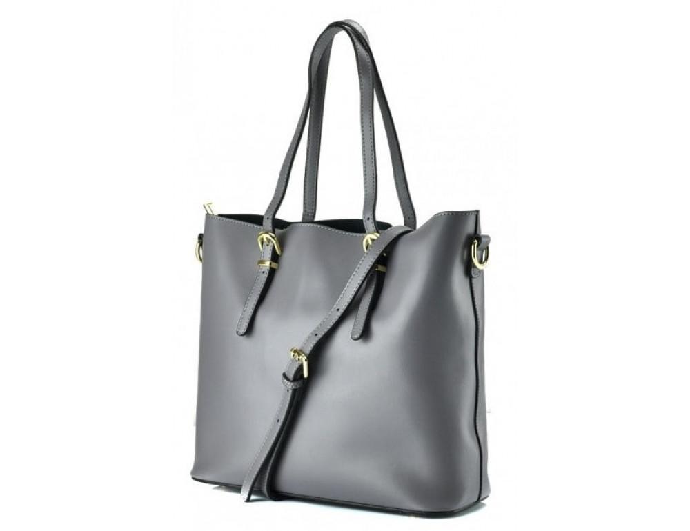 Женская кожаная сумка Grays GR3-173G серая