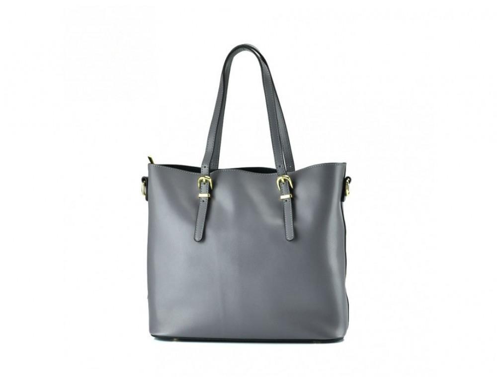 Женская кожаная сумка Grays GR3-173G серая - Фото № 3