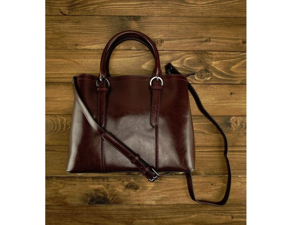 Женская кожаная сумка Grays GR3-857B коричневая - Фото № 2