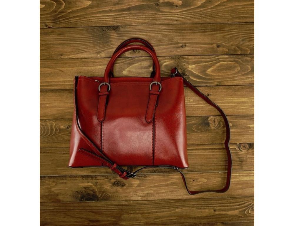 Женская кожаная сумка Grays GR3-857R красная - Фото № 2