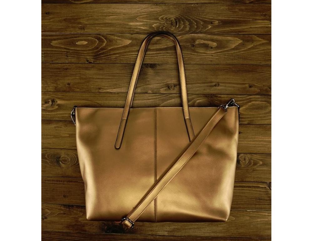 Женская кожаная сумка Grays GR3-8687BGM золотая - Фото № 2