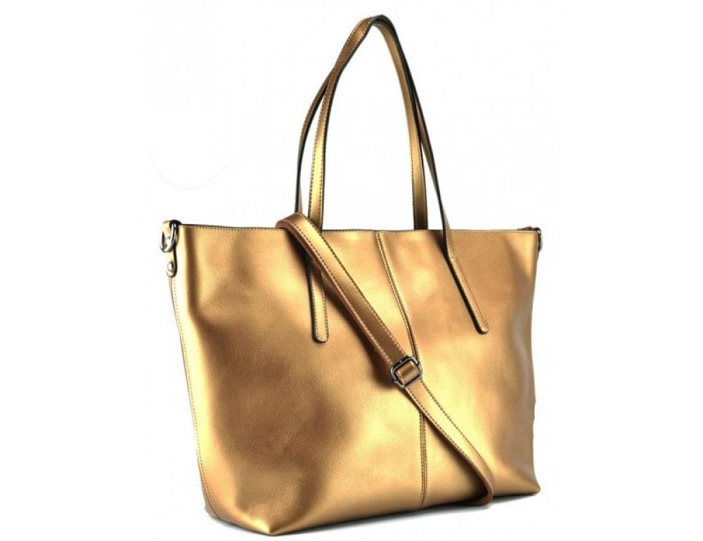 Женская кожаная сумка Grays GR3-8687BGM золотая - Фото № 1