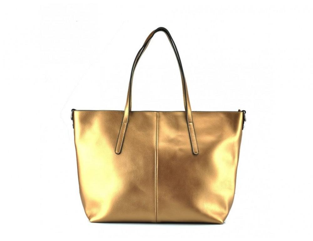 Женская кожаная сумка Grays GR3-8687BGM золотая - Фото № 3