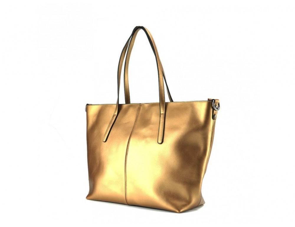Женская кожаная сумка Grays GR3-8687BGM золотая - Фото № 4