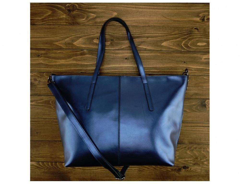 Женская кожаная сумка Grays GR3-8687BLM Синий металлик - Фото № 2