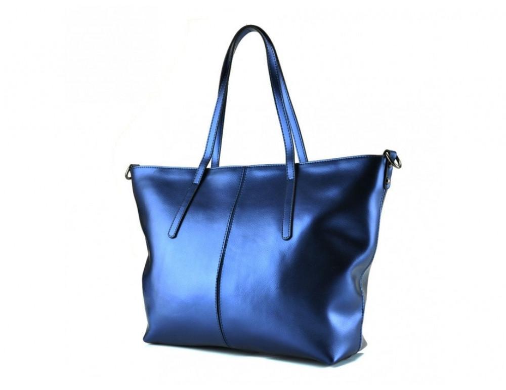 Женская кожаная сумка Grays GR3-8687BLM Синий металлик - Фото № 3