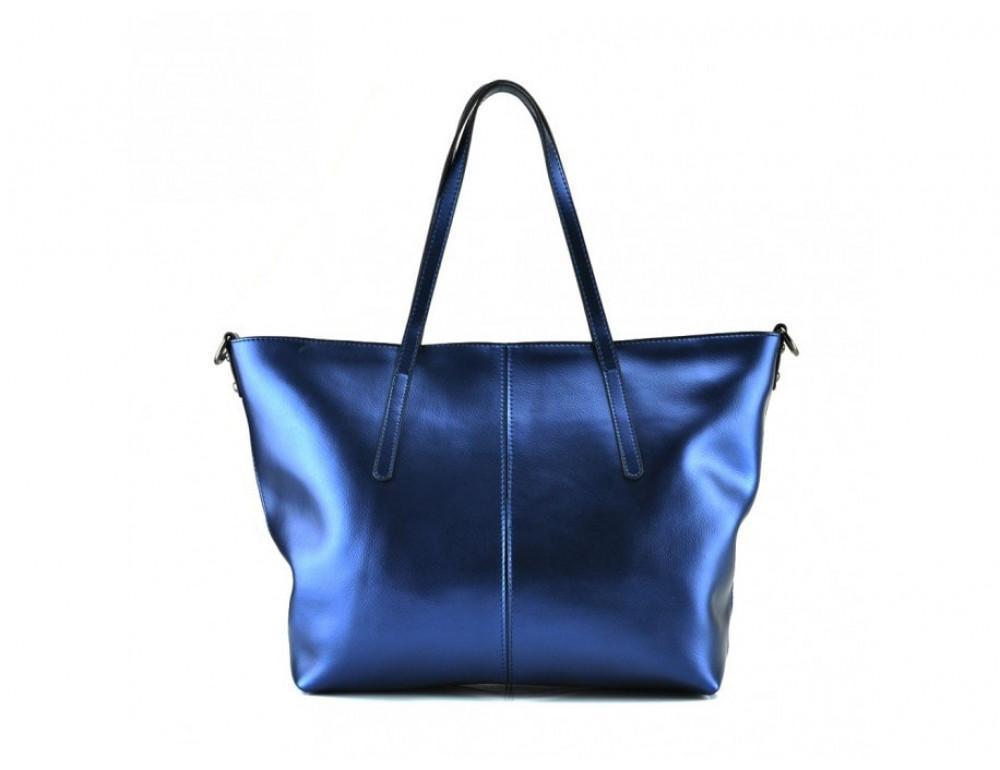 Женская кожаная сумка Grays GR3-8687BLM Синий металлик - Фото № 4