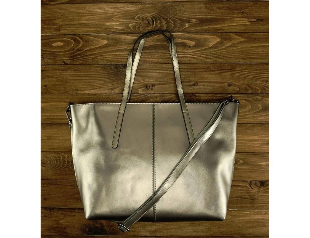 Женская кожаная сумка Grays GR3-8687GM серебристый металлик - Фото № 2