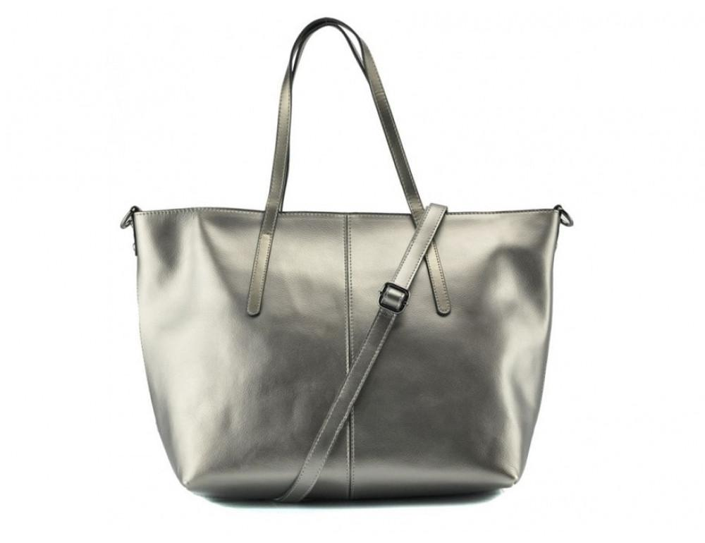Женская кожаная сумка Grays GR3-8687GM серебристый металлик - Фото № 3