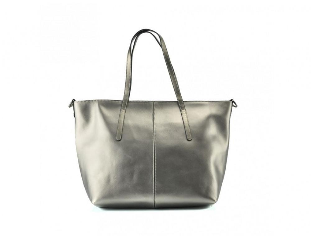 Женская кожаная сумка Grays GR3-8687GM серебристый металлик - Фото № 4