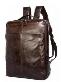 Мужской кожаный рюкзак TIDING BAG 7280C коричневый