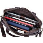 Тёмно-коричневая кожаная сумка под ноутбук Bexhill A25-1127C - Фото № 106