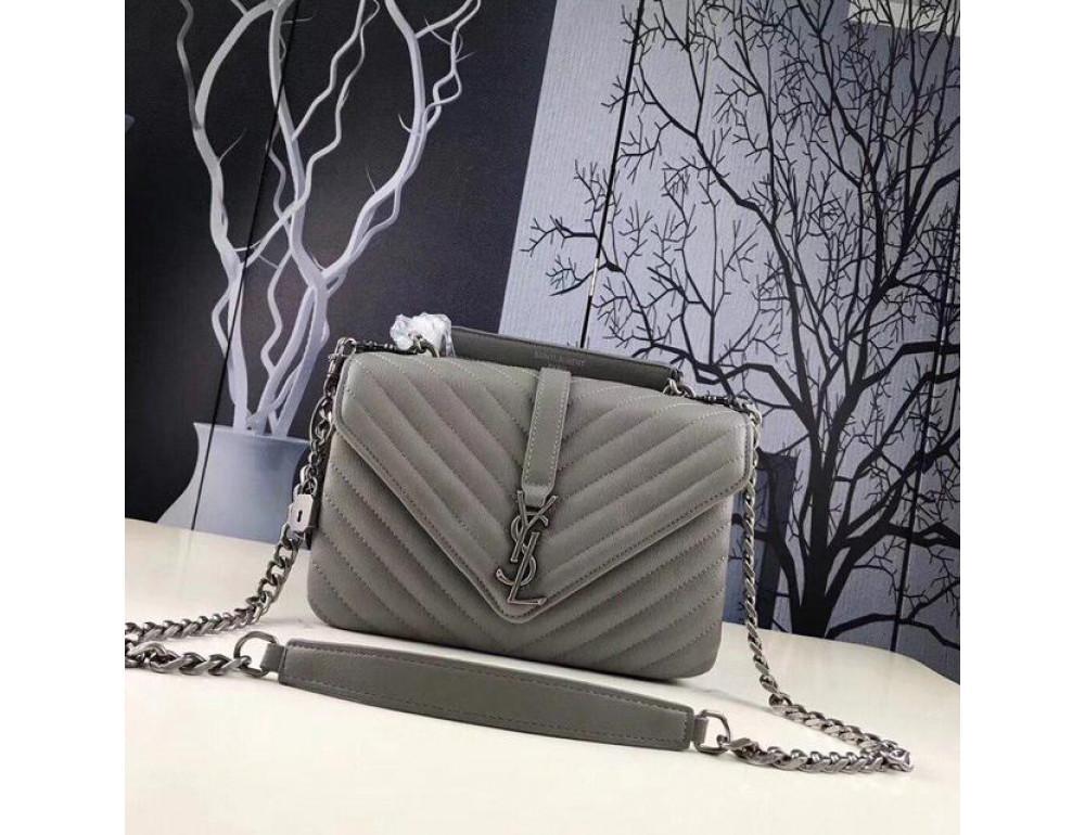Кожаная сумка Yves Saint Laurent YSL-991210GR серая - Фото № 1