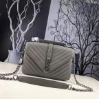 Кожаная сумка Yves Saint Laurent YSL-991210GR серая - Фото № 100