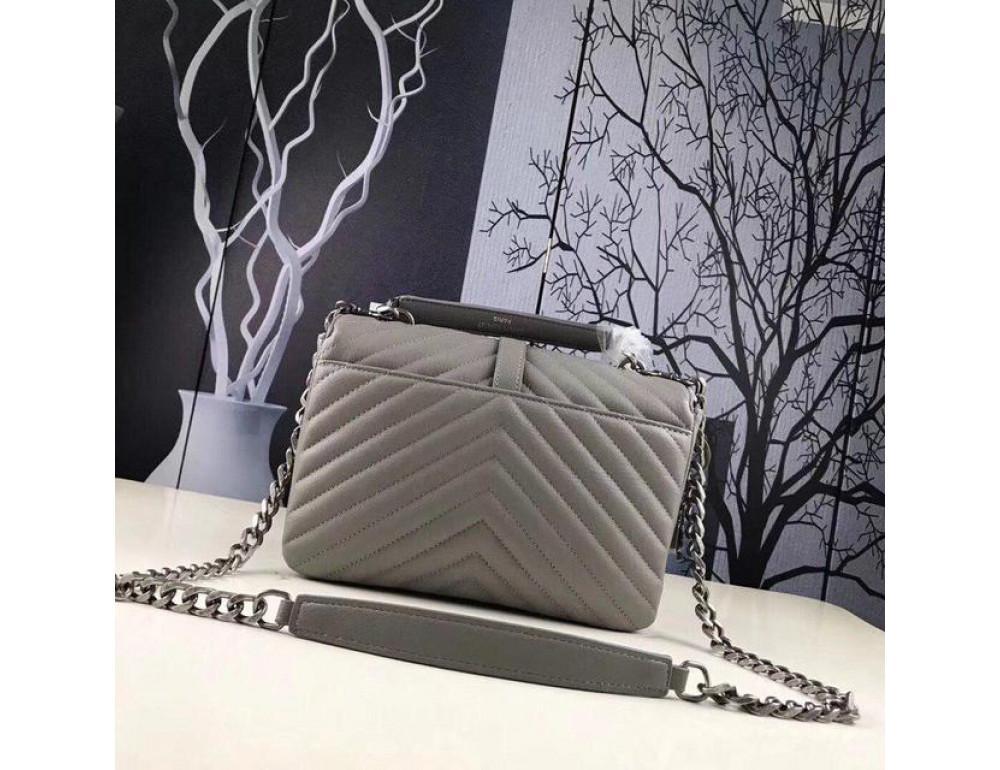 Кожаная сумка Yves Saint Laurent YSL-991210GR серая - Фото № 2