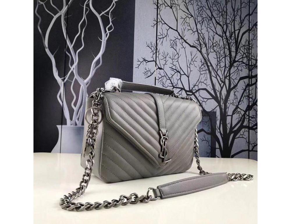 Кожаная сумка Yves Saint Laurent YSL-991210GR серая - Фото № 4