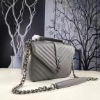 Кожаная сумка Yves Saint Laurent YSL-991210GR серая - Фото № 103