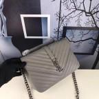 Кожаная сумка Yves Saint Laurent YSL-991210GR серая - Фото № 105
