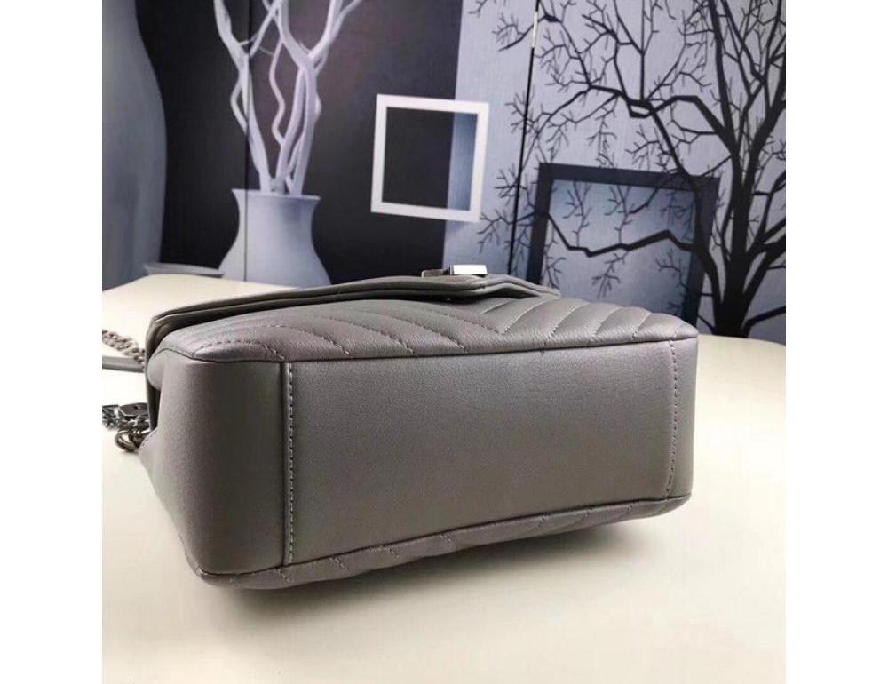 Кожаная сумка Yves Saint Laurent YSL-991210GR серая - Фото № 7